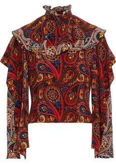 Jw Anderson Woman Ruffled Silk-chiffon Top Multicolor