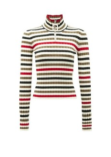 JW Anderson Zipped high-neck striped wool sweater