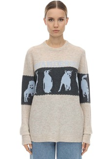 JW Anderson Jwa Animal Logo Wool Blend Knit Sweater