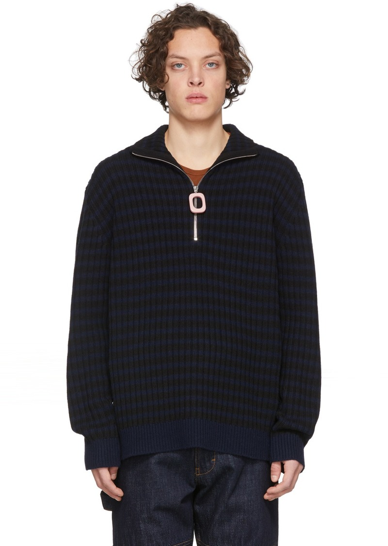 JW Anderson Navy & Black Neckband Striped Sweater