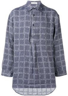JW Anderson Navy Logo Grid Tunic Linen Shirt