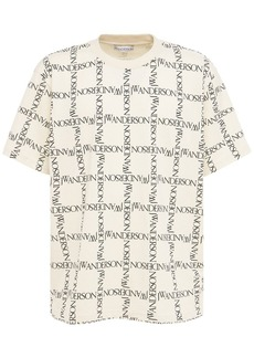 JW Anderson Over Logo Grid Print Jersey T-shirt