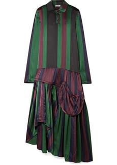 JW Anderson Oversized Asymmetric Striped Silk-charmeuse Dress