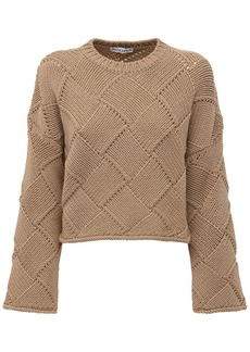 JW Anderson Oversized Wool Blend Knit Crop Sweater