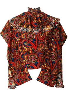 JW Anderson olive paisley-print ruffle top