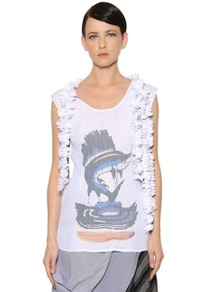 JW Anderson Printed Pleated & Frilled Gauze Top