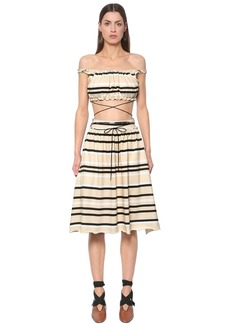 JW Anderson Striped Cotton Jersey Top & Skirt