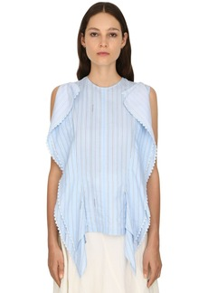JW Anderson Striped Logo Cotton Gazar Top W/macramé