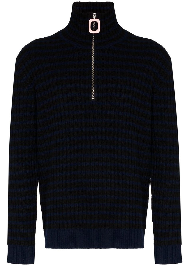 JW Anderson striped wool and cashmere half-zip jumper