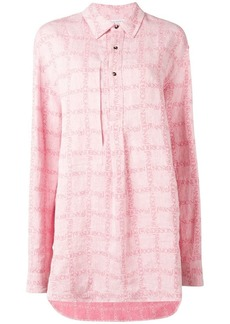 JW Anderson women's bubblegum logo grid tunic linen shirt