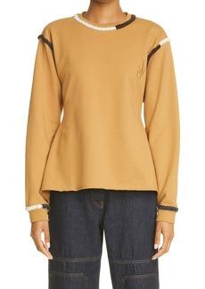 Women's Jw Anderson Contrast Stitch Asymmetric Hem Sweatshirt