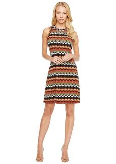 Karen Kane Abstract Zigzag Halter Dress
