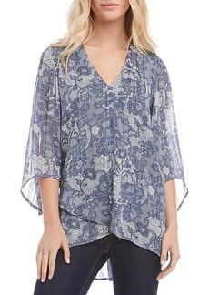 Karen Kane Bracelet-Sleeve Asymmetric Lace-Print Sheer Top