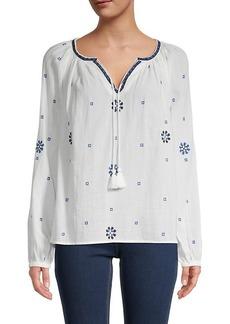 Karen Kane Embroidered Cotton Peasant Top