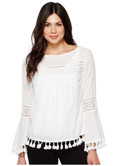 Karen Kane Embroidered Tassel Top