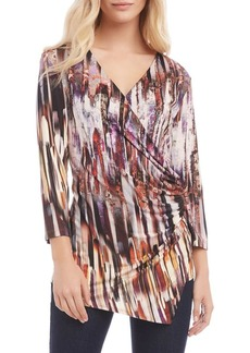 Karen Kane Abstract-Print Faux Wrap Top