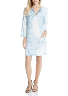 Karen Kane Acid Wash Denim Shift Dress