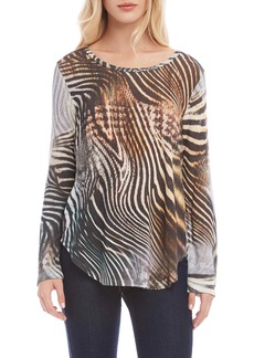 Karen Kane Animal Print Shirttail Top