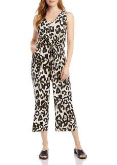 Karen Kane Animal Print Tie-Front Jumpsuit
