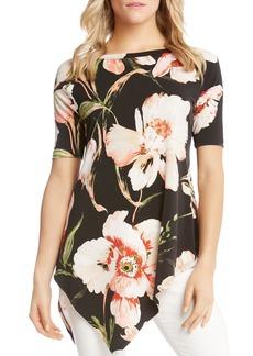 Karen Kane Asymmetric Floral Top