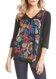 Karen Kane Asymmetrical Hem Floral Embroidery Top