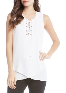 Karen Kane Asymmetrical Lace-Up Crepe Tank