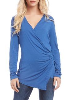 Karen Kane Asymmetrical Long Sleeve Wrap Front Top