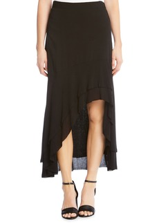 Karen Kane Asymmetrical Raw Edge Ruffle Skirt