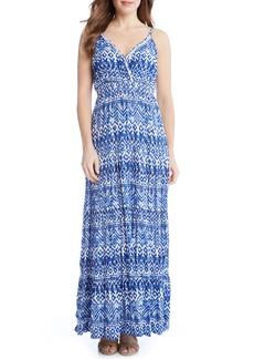 Karen Kane Batik Print Tiered Maxi Dress