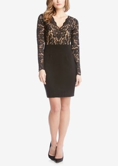 Karen Kane Becca Lace-Top Sheath Dress