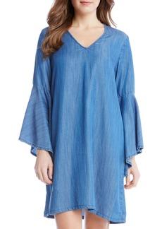 Karen Kane Bell Sleeve Chambray Shift Dress
