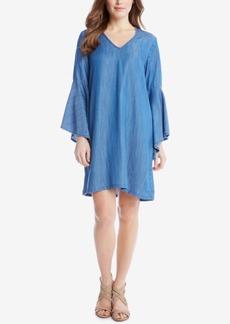 Karen Kane Bell-Sleeve Denim Shift Dress