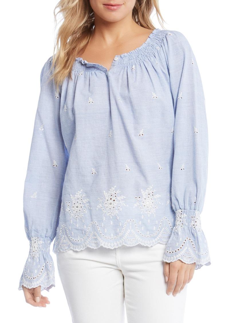 Karen Kane Karen Kane Bell Sleeve Embroidered Cotton Peasant Blouse