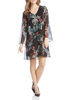 Karen Kane Bell Sleeve Floral Print Dress
