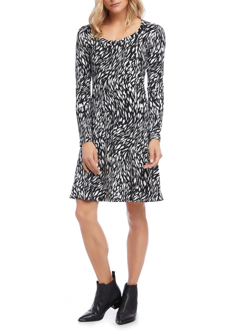 Karen Kane Black & White Print Long Sleeve A-Line Dress