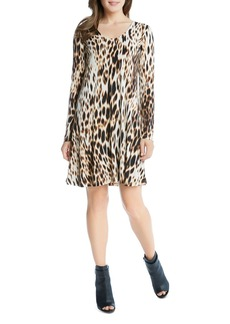 Karen Kane Blurred Cheetah Print Swing Dress
