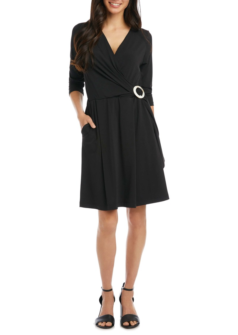 Karen Kane Buckle Detail Wrap Front Dress