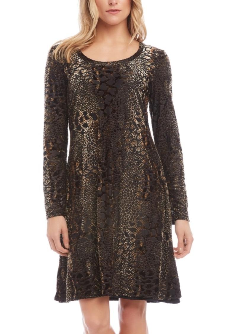 Karen Kane Burnout-Print Scoop-Neck Dress
