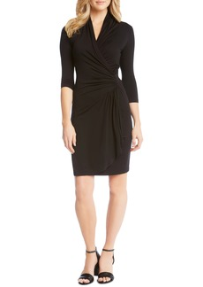 Karen Kane Cascade Faux Wrap Dress (Women)