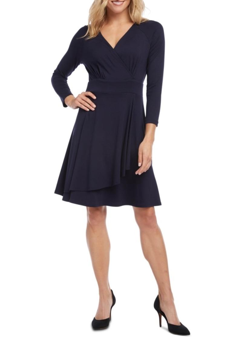 Karen Kane Cascade Faux-Wrap Dress, Created for Macy's
