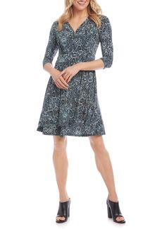 Karen Kane Cascade Paisley Print Faux Wrap Dress