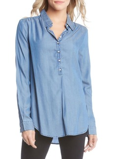 Karen Kane Chambray Half Placket Button Front Shirt