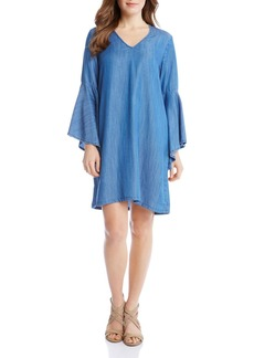 Karen Kane Chambray V-Neck Bell Sleeve Dress
