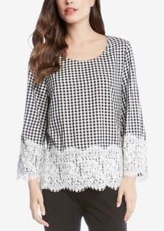 Karen Kane Checkered Lace-Trim Top, Created for Macy's