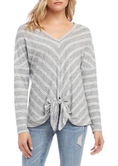 Karen Kane Chevron Stripe Tie Front Sweater