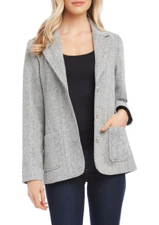 Karen Kane Chevron Stripe Tweed Blazer