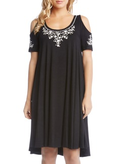 Karen Kane Cold Shoulder Embroidered Trapeze Dress