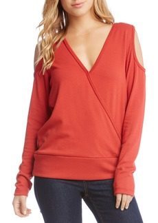 Karen Kane Cold Shoulder Faux Wrap Top