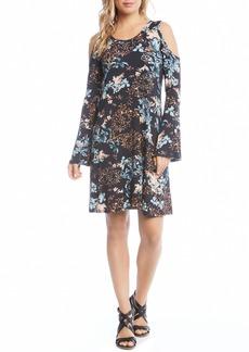 Karen Kane Cold Shoulder Floral A-Line Dress