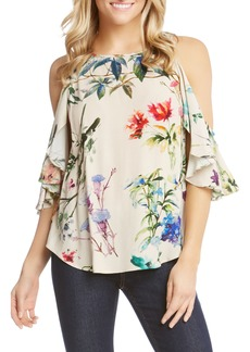 Karen Kane Cold Shoulder Ruffle Sleeve Floral Blouse